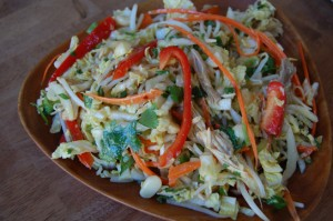 Cabbage with chicken, nuts, and spicy dressing
