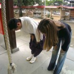 Bowing at a Temple